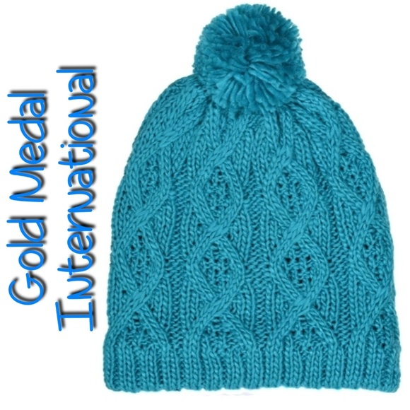aa623453 Gold Medal International Accessories - 🆕⛄ GMI Insulated Thermal Knit Beanie  Teal w/ Pom